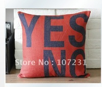 "1 Cotton 18"" x18"" 45CM Classical vintage Home Decor Throw Pillow Case Cushion Cover Red ""Yes"" or ""No Letter"