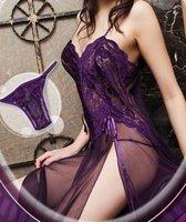 Purple Spandex Lace Sleepwear Sexy Lingerie Gown +Panty