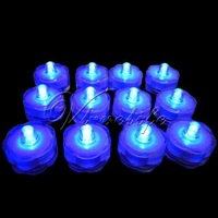 12 Blue LED Submersible Lights Candles Waterproof Replaceable Xmas Wedding