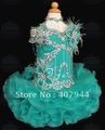 Free shipping blue organza  mini beading and feathers ball gown cupcake flower girl dress/pageant girl dres