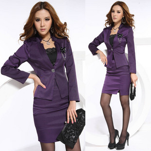 autumn fashion professional set elegant slim work wear Office Ladies Career Business Sets Jacket and skirt free shipping(China (Mainland))
