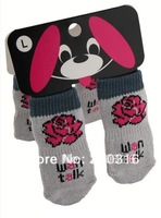 New Arrival Free Shipping Grey Pet Dog Socks with Red Rose Picture 24pcs/lot=6sets/lot