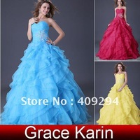 Promotion time ! Free Shipping  ! GK Stock Strapless Organza Ball Gown Bridal Wedding Dresses 8 Size CL3411