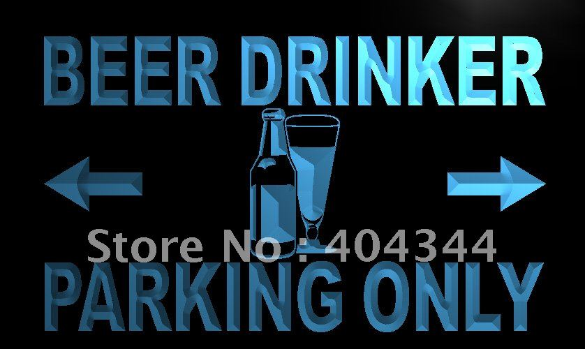 LN179-TM Beer Drinker Parking Only Neon Light Sign. Advertising. led panel, Free Shipping, Wholesale(China (Mainland))