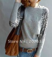 women's long batwing sleeve leopard print cotton knitting sweater pullover women+ free shipping