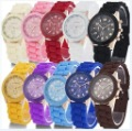 10Pcs Multi Color Crystal Quartz Jelly Geneva  Silicone Ladies Girls Leisure Wrist Watch