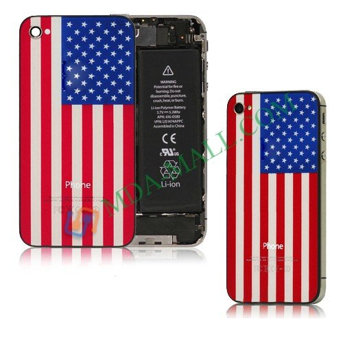 Personality Glass USA Back Cover Housing for iPhone 4 4S Free Shipping(China (Mainland))
