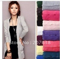 Best Selling!!Fashion women cardigan Long sleeve Casual Slim wool sweater+ free shipping