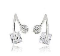 A88085 Fashion white/purple zircon 18kt white gold filled Stud earrings free gift Zircon earrings