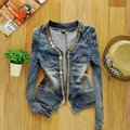 Korean Women Autumn Winter Denim Clothing Jeans Short Style Metal Zipper Denim Jacket Long-Sleeved Jacket Blouses Free Shipping