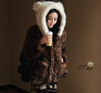 Heavly ear bear ear outerwear ladies fur coat lady Faux Fur winter faux fur coat with panda ear