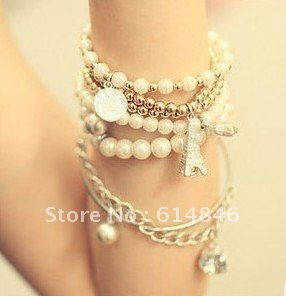 Hot Sale Korean Fashion Iron Tower Coin Star Simulated-Pearl Rhinestones Multi-Combination White Bracelets Bangles For Women 196