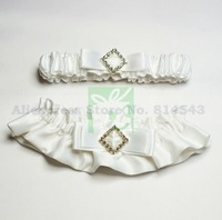 White Wedding Garters 2PCS With Bow & Square Rhinestone Personalized Bridal Garters for Wedding Free Shipping Retails