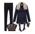 European American Fur Collar Jackets Double-Breasted Woolen Coat Long Coat Lapel Standing Collar Jackets Free Shipping