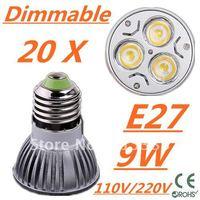 20pcs Dimmable LED High power E27 Base 3x3W 9W led Light led Lamp led Downlight led bulb spotlight FREE FEDEX and DHL
