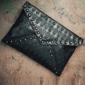 women&#39;s handbag fashion punk skull bags rivet envelope bag day clutch bag for women