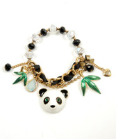 B287 Jewelry Gold bow panda beads beaded braclets Fashion unique bracelet 817  bracelets for women TQ-10.99 wholesale charms
