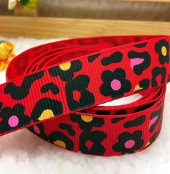 Free shipping, Red ribbom 5/8'' (16mm) Animal spots printed ribbon Polyester Grosgrain Ribbon DIY hairbows Kids gift(China (Mainland))
