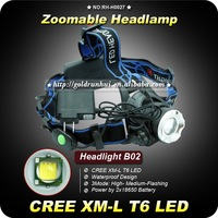 1PC NEW 1200Lm CREE XM-L XML T6 LED Headlamp Rechargeable Headlight 3 Mode Adjustable Zoom IN&OUT Rechargeable 18650 Headlamp