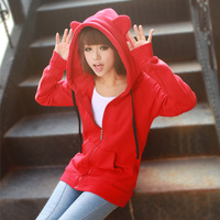 2012 spring and autumn women's long-sleeve cardigan sweatshirt female loose with a hood fleece outerwear plus size available