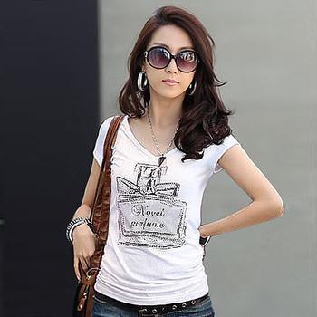 big discount 2012 summer women's the trend of casual print V-neck rhinestones perfume bottle short-sleeve T-shirt gaga sales