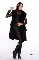 100% Real Genuine Knitted Mink Fur Vest With Collar & Belt Long Jacket Coat Lady  /free shipping