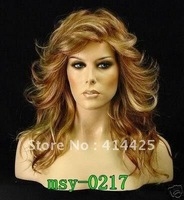 New!charming mix color medium long curly heat resistant girl hair full wig/wigs