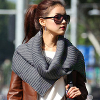 free shipping 10pcs/lot - button yarn thickening stripe cape muffler scarf large scarf mg