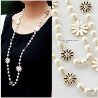 wholesale 10pcs/lot - accessories daisy flowers pearl necklace clothes and accessories necklace long necklace female