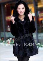 100% Real Genuine Mink Fur Coat Hat Hoody Jacket Outwear Black Garment Deluxe /free shipping
