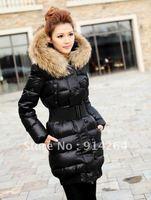Women's Winter Warm raccoon fur collar Slim Fit eiderdown Jacket Coat Outwear  /free shipping