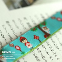 """5/8""""(16mmX10yards) Zakka handmade accessories laciness ribbon Jacquard Ribbon with Little red riding hood girl and trees"""