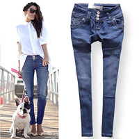 Free shipping new fashion vintage buttons personalized women's denim ankle length trousers slim skinny jeans