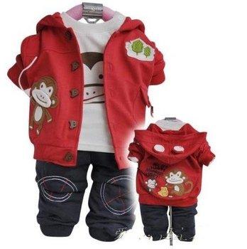TZ102,Free Shipping! autumn baby clothes sets cartoon boy clothing set coat+t-shirt+pants kid thick garment Wholesale And Retail