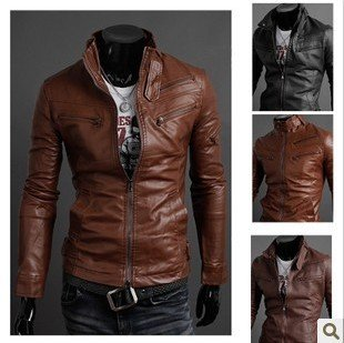 104CA  Fashion leather jacket ,Motorcycle jacket ,leather coat,frame style, fashion men`s coat , 3 colors ,Freeshipping
