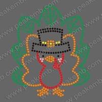 Free Shipping Cute Turkey Thanksgiving Hotfix Rhinestone Transfer Iron on Motif 30pcs/Lot Free Custom Design