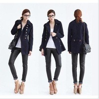 2012 Z* winter new style women Wool coat double breasted long down jacket Metal buckle trench Free shipping!