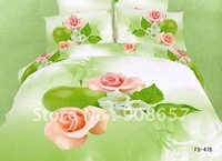 pink rose flowers green apple bedding sets oil painting prints cotton discount quilt/duvet covers sets for Queen/Full comforter
