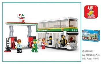 Luban City Bus Double Buses DIY 403pcs Compatible With Ligo Assembles Particles Block Toys  Gas Station