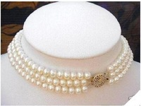 Charming 3 Strand 7-8MM White Pearl Choker Necklace