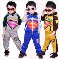2012 the super man pattern children's clothing clothing male child autumn clothes sports casual the set of children sweater suit