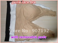 30pcs/lot lace genie Bra -wide shoulder straps with removable pads,3 color a set no other select(Retail packaging)