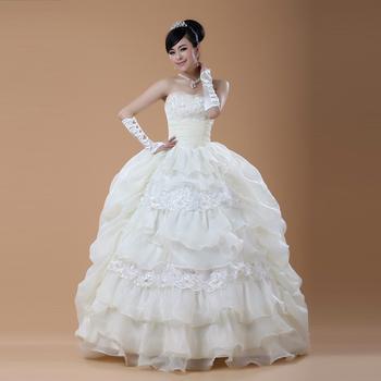 The bride wedding dress formal dress sweet tube top wedding dress princess embroidered lace beads sexy wedding dress 028