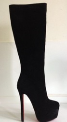 16cm Black suede red bottom tall boots over the knee high hell platform leather boot sexy women shoe C56(China (Mainland))
