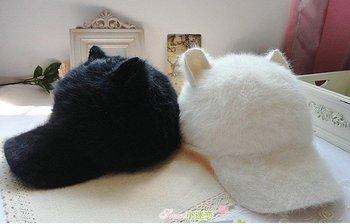 European Style 3 pcs/lot Wholesale Adult Hats Cashmere Cat Shape Cool Peaked Caps Autumn Winter Headwear For Unisex 4 Colors