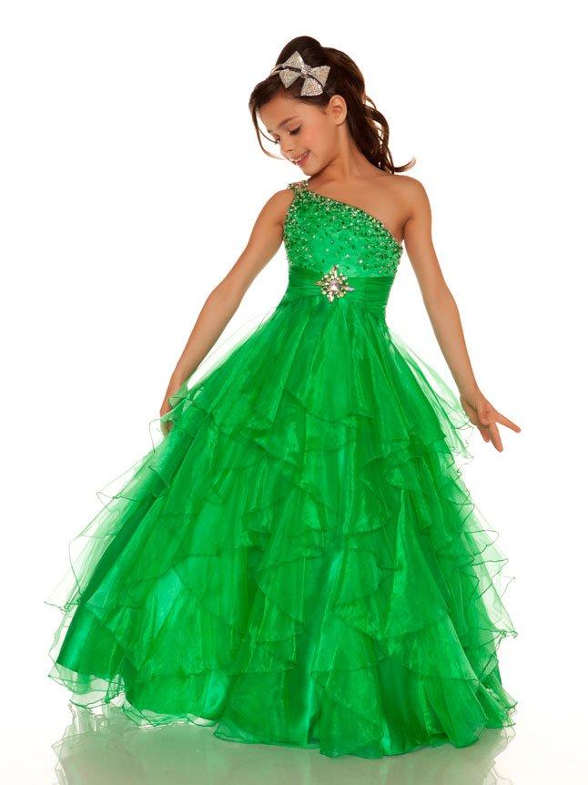 2013 cute green winning one shoulder little girl pageant dress gown
