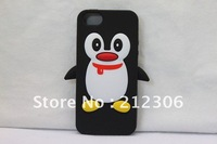Wholesale-Cute Silicone Case for Iphone5 5G Soft Penguin Case with retail packing! Free Shipping