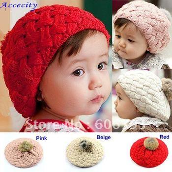 C18 Free Shipping  Hot Fashion Cute Children Baby Kids Knit Crochet Beanie Winter Warm Hat Cap,Baby Hat  red/pink/beige