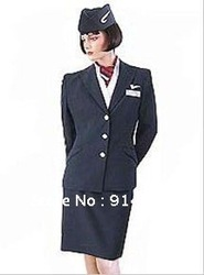 Super Quality Custom Made To Order Flight Uniforms Stewardress Flight Attendant Uniforms Workwear !(China (Mainland))