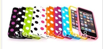 For iPhone 5 5g Wave Point Polka Dots Design Soft TPU Case for iPhone 5 ,100pcs/lot